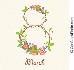 Greeting card with March 8 Women Day flowers edging