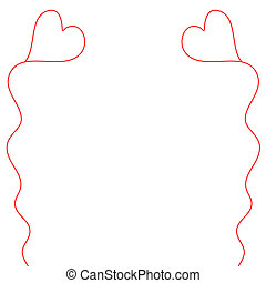Heart Balloons on Strings - Simple, child-like illustration...