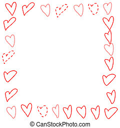 Valentines Border - Doodled Hearts - Illustrated frame of...