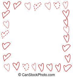 Valentines Border - Doodled Hearts - Illustrated frame of...