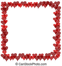 Valentines Border - Overlapping Hearts - Illustrated frame...