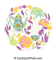 Card for tea party Hand drawn tea mug and teapot with floral...