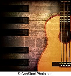 abstract grunge piano background with acoustic guitar -...