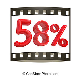 "3d red ""58"" - fifty eight percent on a white background. The..."