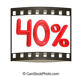 "3d red ""40"" - forty percent on a white background. The film..."