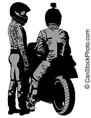 Motor couple - Couples people and sport bike on white...