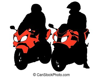 Sport bike men - People and sport bike on white background