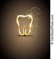 Beautiful golden tooth illustration - Beautiful golden tooth...
