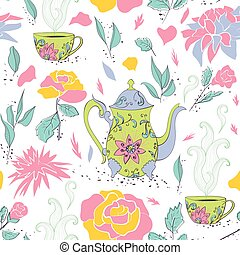 Tea party seamless pattern - Seamless pattern with hand...