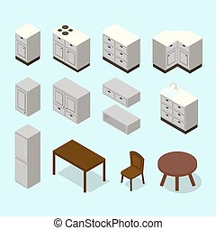 Vector isometric kitchen furniture set. Cabinets chair table