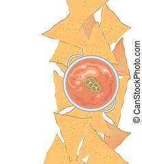nacho background - an illustration of crunchy nachos with a...