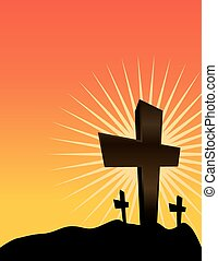 Silhouetted Crosses at Sunrise - An illustration of...
