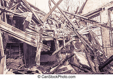 vintage shoot of a burned down house