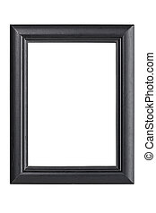 black wooden picture frame, isolated on white