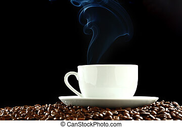 coffee aroma - coffee background aroma and beans on black