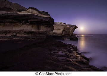Moonrise, Canary Islands - Moonrise over San Miguel Tajao,...