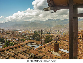 Aerial View of Cusco from Hostel