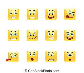 Set of smiles crazy - Set of yellow smileys square of twelve...