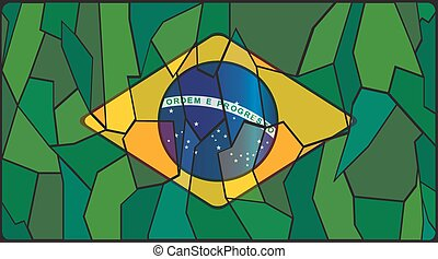 Brazil Flag Stained Glass Window - A Brazil Flag on a...