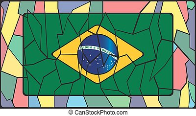 Brazil Flag On Stained Glass Window - A Brazil Flag on a...