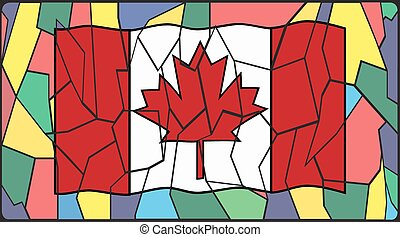 Canadian Flag On Stained Glass Window - A Canadian Flag on a...