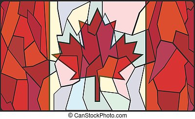Canadian Stained Glass Window - A Canadian Flag on a stained...