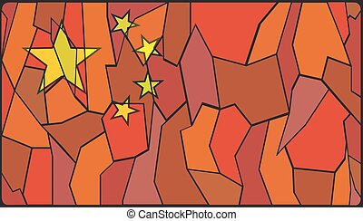 Chinese Stained Glass Window - A Chinese Flag on a stained...