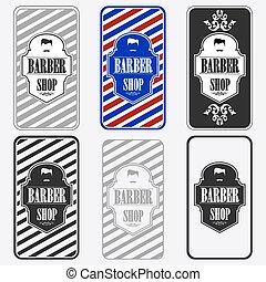 barber shop - Set of vintage barber shop logo graphics and...