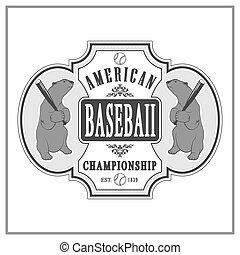 Vintage baseball label and badge - Vector illustration...