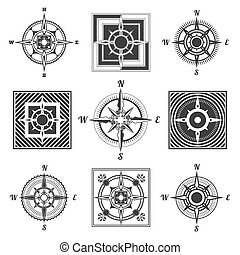 compass icons set - Vintage nautical or marine wind rose and...