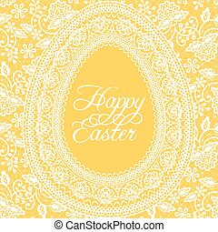Easter yellow card with white lace frame