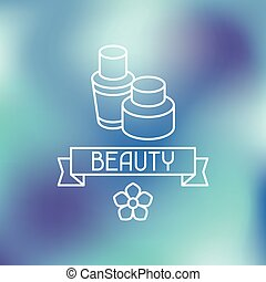 Spa beauty label on blurred background