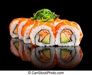 Sushi, pedazos, en, negro, Plano de fondo,