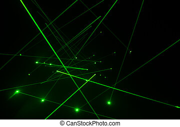Laser line lighting - Abstract of digital green light laser...