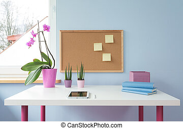 Cork board above desk - Cork board above white desk in cute...