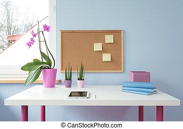 Cork board above desk - Cork board above white desk in cute...