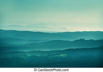 Sunset landscape Tuscany - Image of landscape near...