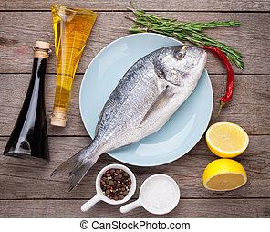 fresco, dorado, pez, cocina, con, especias, y, Condimentos,
