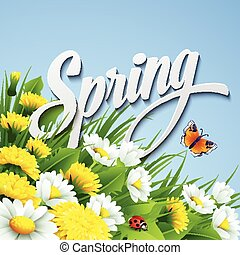 Fresh spring background with  dandelions and daisies