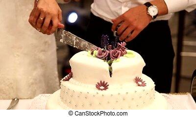 Cutting wedding cake bride and groom