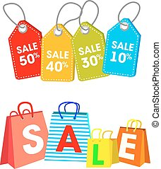 Collection of shopping carts full bags and gift boxes. Concept discount. Vector.