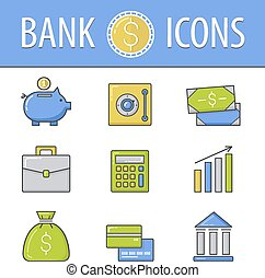 Banking icons set.Vector - Banking flat icons set.Vector...