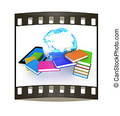 tablet pc and earth with colorful real books on white...
