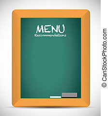 menu recommendations board sign illustration design over...