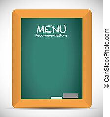 menu recommendations board sign illustration design over...