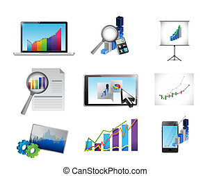 business reporting concept icon set illustration design over...