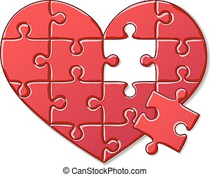 Detailed Icon Heart puzzle isolated on white background