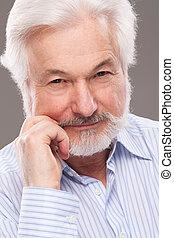 guapo, anciano, hombre, con, gris, Barba,