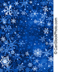 Blue Snow Background - White and blue snowflakes on a dark...