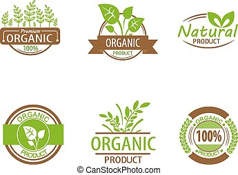 Round eco green stamp label of healthy organic natural fresh farm food